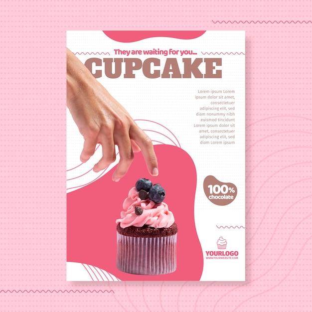 Шаблон плаката вкусный кекс Premium векторы