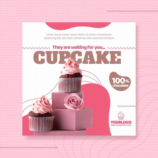 Delicious cupcake square flyer template Free Vector