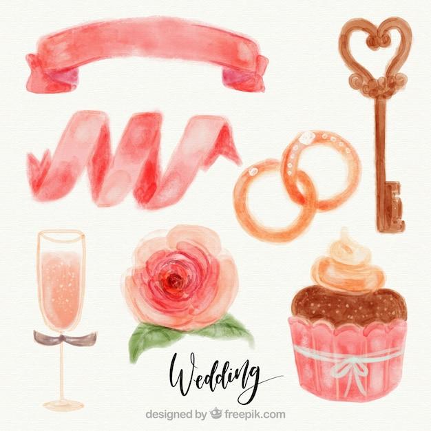 Delicious cupcake and watercolor decorative wedding elements Free Vector