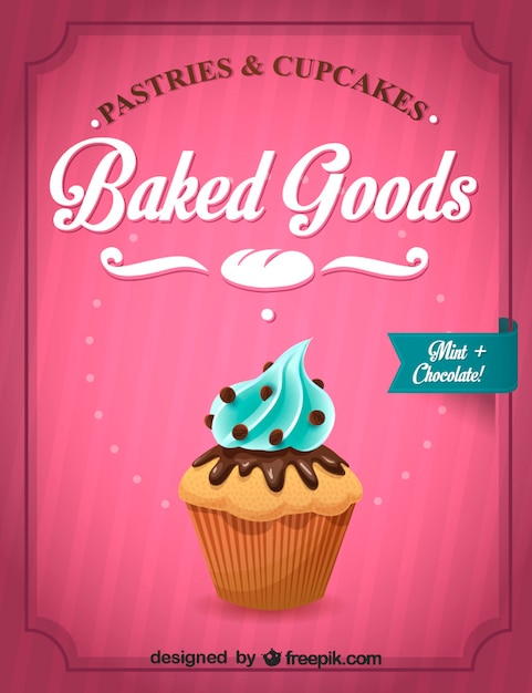 Delicious cupcake with blue buttercream Free Vector