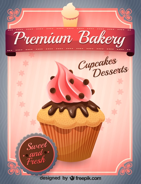Delicious cupcake with pink buttercream Free Vector