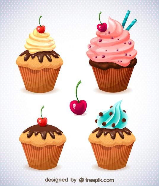 Delicious cupcakes collection Free Vector