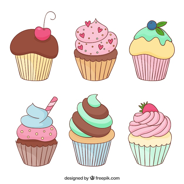 Delicious cupcakes Free Vector