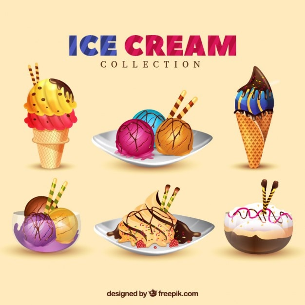 Delicious desserts and ice-creams pack