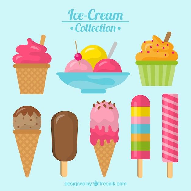 Delicious desserts and ice creams