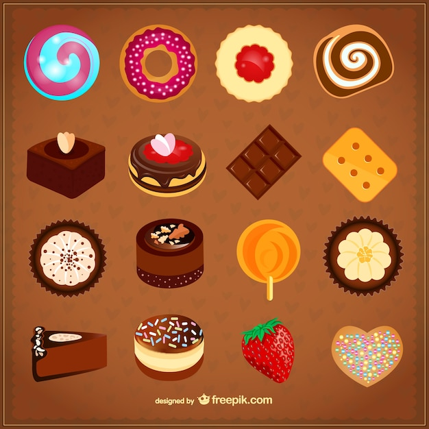Delicious desserts set Free Vector