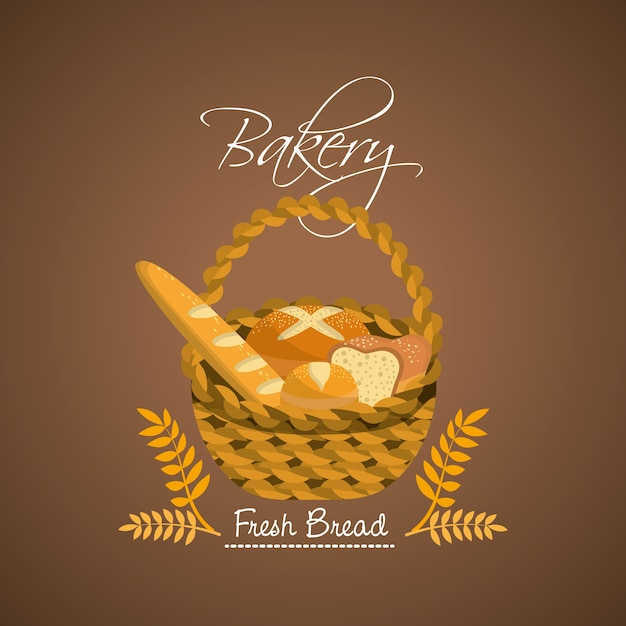 Delicious differents bread inside the basket Premium Vector