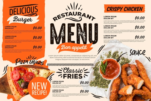 Delicious digital horizontal restaurant menu Free Vector