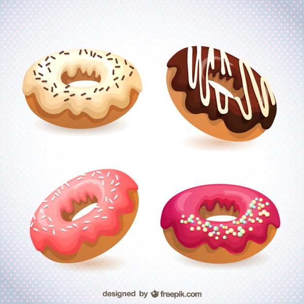Delicious donuts collection Premium Vector