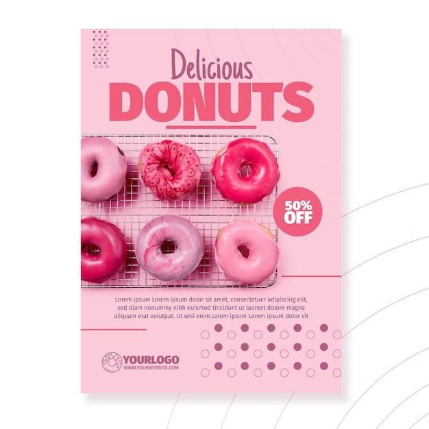 Шаблон флаера вкусные пончики Бесплатные векторы