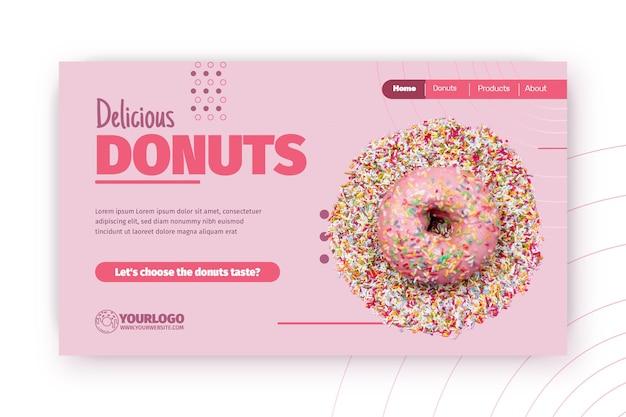 Шаблон целевой страницы вкусных пончиков Бесплатные векторы