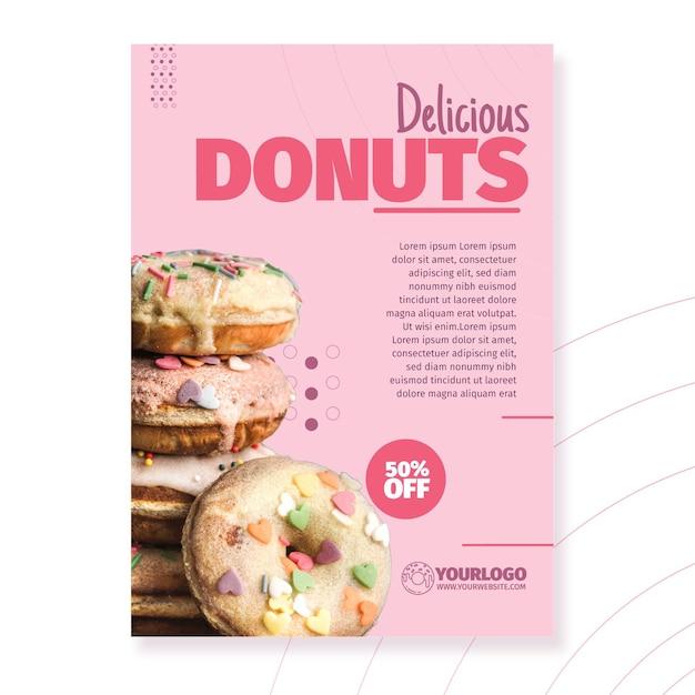 Шаблон плаката вкусные пончики Бесплатные векторы