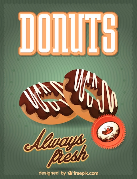Delicious donuts with chocolate Free Vector