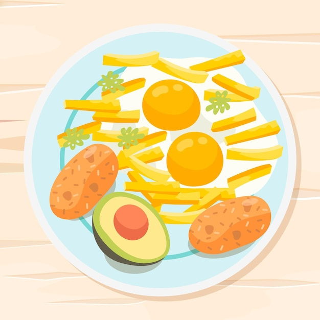 Delicious eggs with french fries comfort food Free Vector