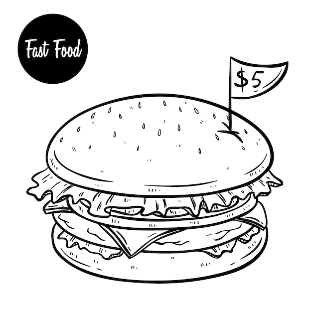 Delicious fast food of hamburger with price and using hand drawn doodle style Premium Vector