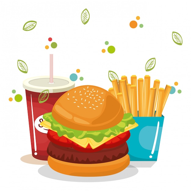 Delicious fast food menu Free Vector