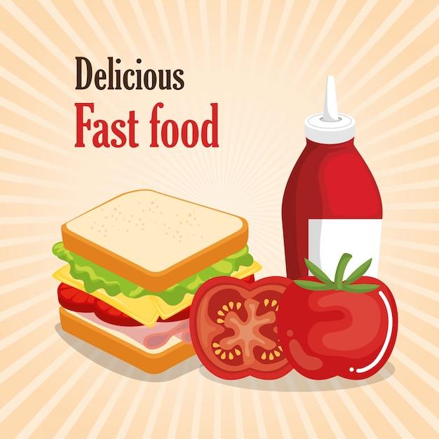 Delicious fast food menu Free Vector