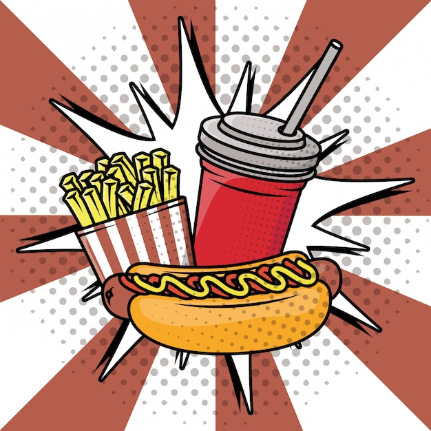 Delicious fast food pop art style Free Vector