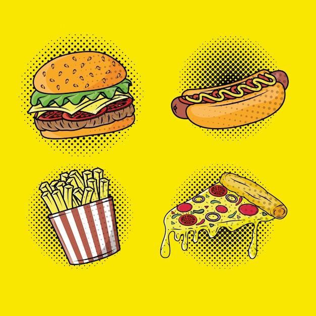 Delicious fast food pop art style Premium Vector