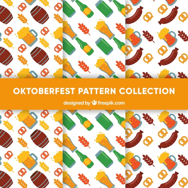 Delicious food and drink patterns of oktoberfest collection