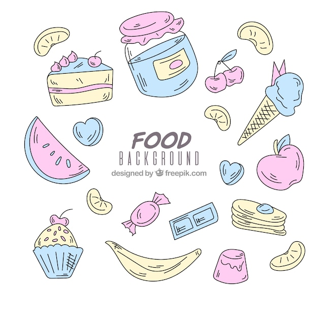 Delicious food background with hand drawn style Free Vector