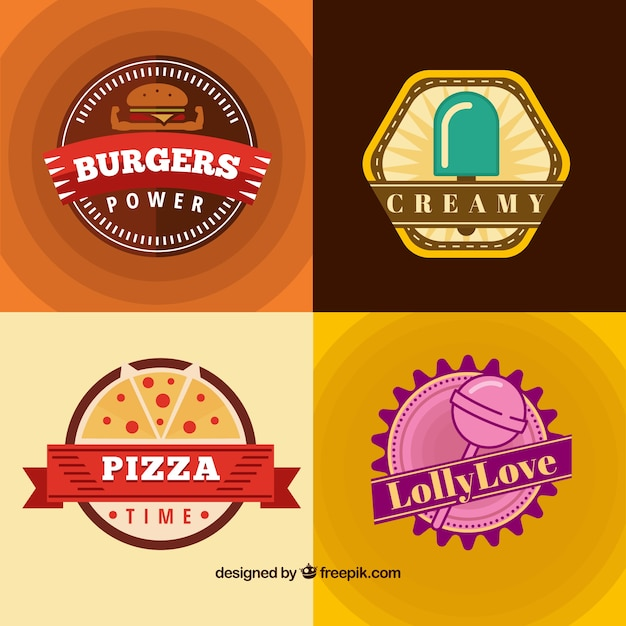 Delicious food badges Free Vector
