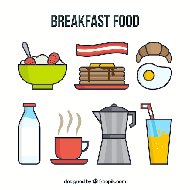 Delicious food for breakfast with coffee maker Free Vector