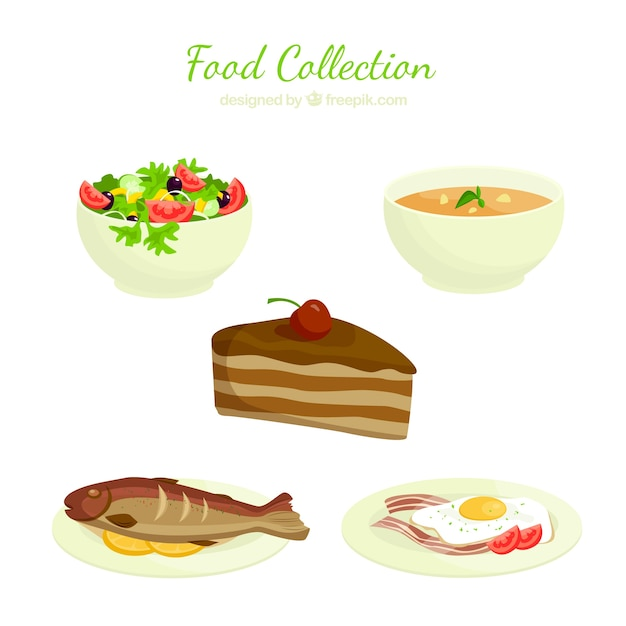 Delicious food collection Free Vector