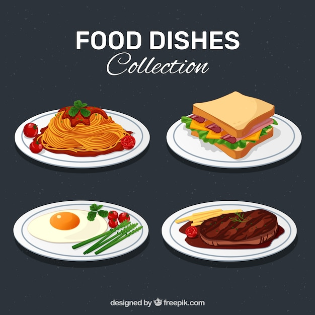 Delicious food dish collection Free Vector