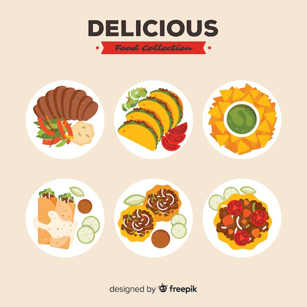 Delicious food dishes pack Free Vector