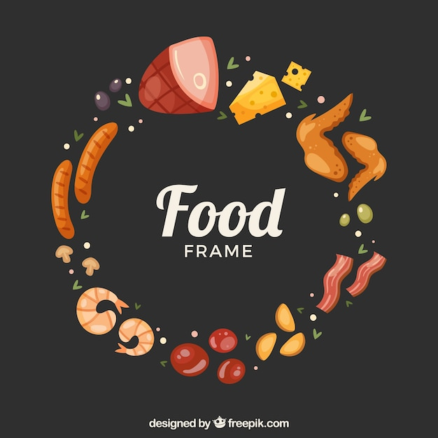 Delicious food frame with flat design Free Vector