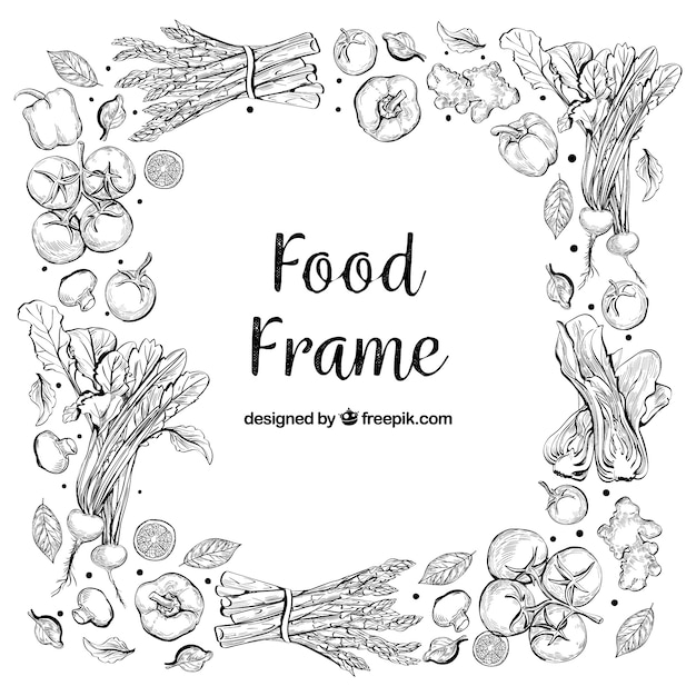 Delicious food frame with hand drawn style Premium Vector