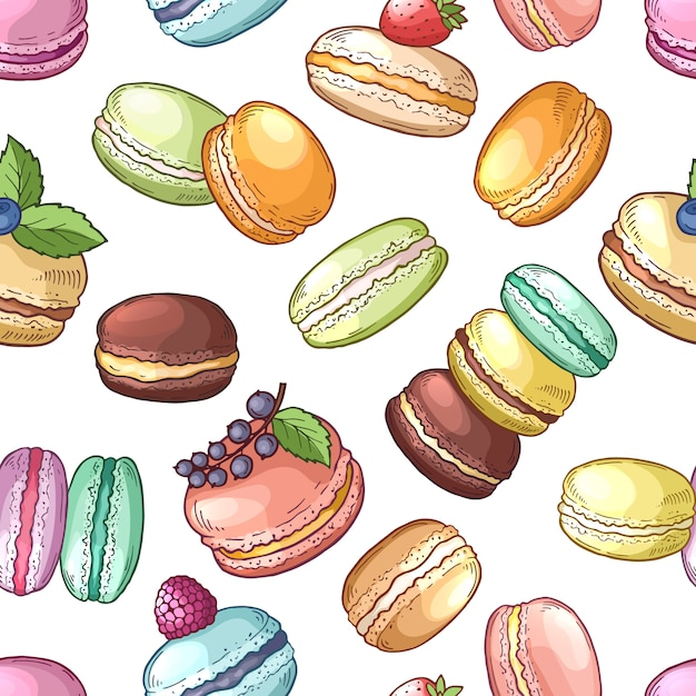 Delicious food of france colored macaroon  set Premium Vector