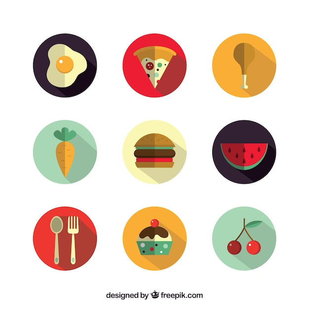Delicious food icons Free Vector