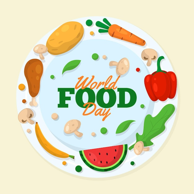 Delicious foodstuff for world food day event Free Vector
