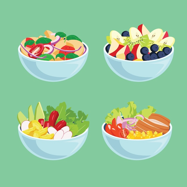 Delicious fresh fruit and salads in bowls Free Vector
