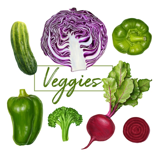 Delicious fresh veggies Premium Vector