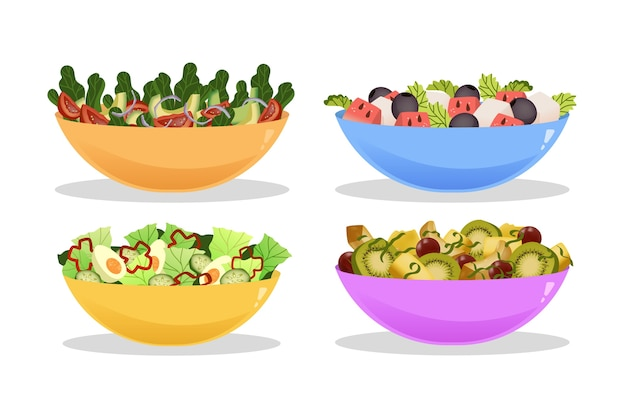 Delicious fruit and salad bowls collection Free Vector