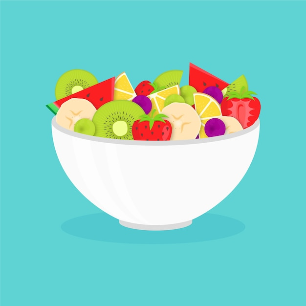 Delicious fruit salad in white bowl Free Vector