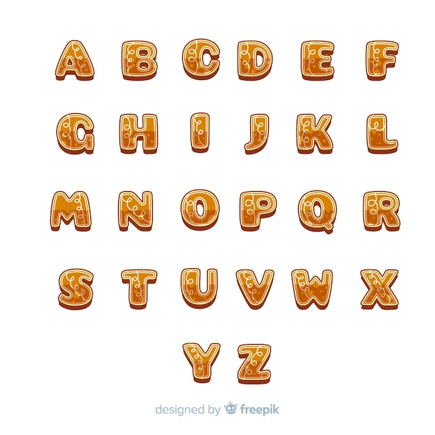 Delicious gingerbread  letters christmas alphabet Free Vector