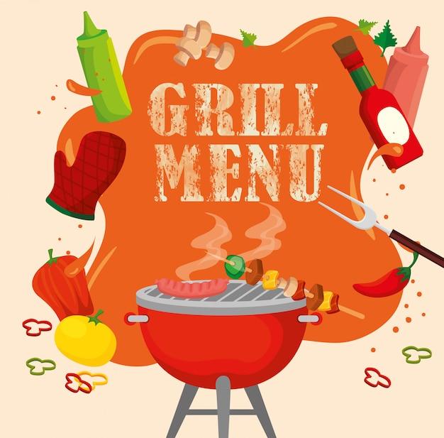 オーブンと食べ物のおいしいグリルメニュー Premiumベクター