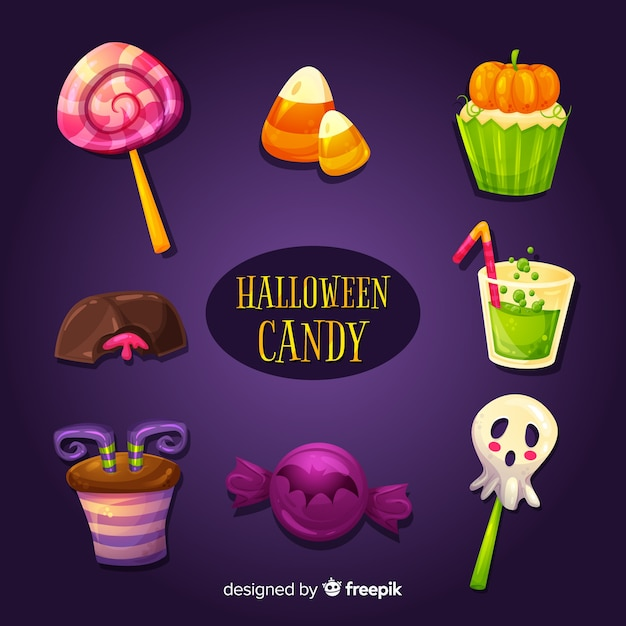 Delicious halloween candy set Free Vector