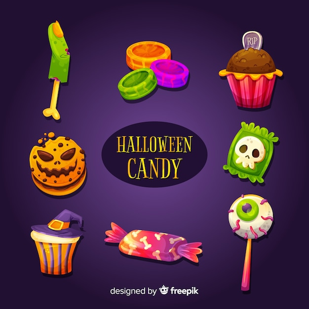 Delicious halloween candy set Free Vector