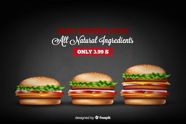 Delicious hamburger ad Free Vector