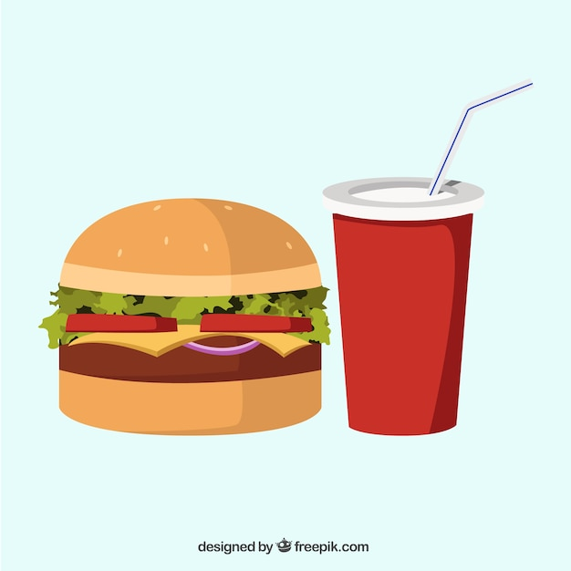 Delicious hamburger and soft drink Free Vector