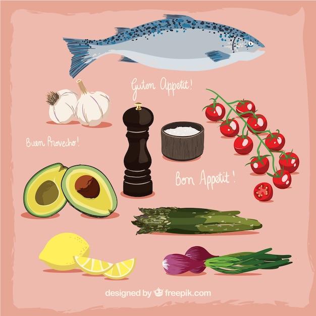 Delicious hand drawn healthy food