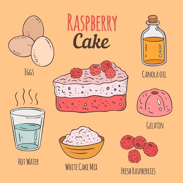 Вкусный рисованный рецепт малинового торта Premium векторы