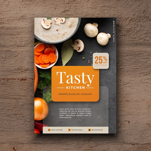 Delicious healthy food restaurant flyer with photo Free Vector