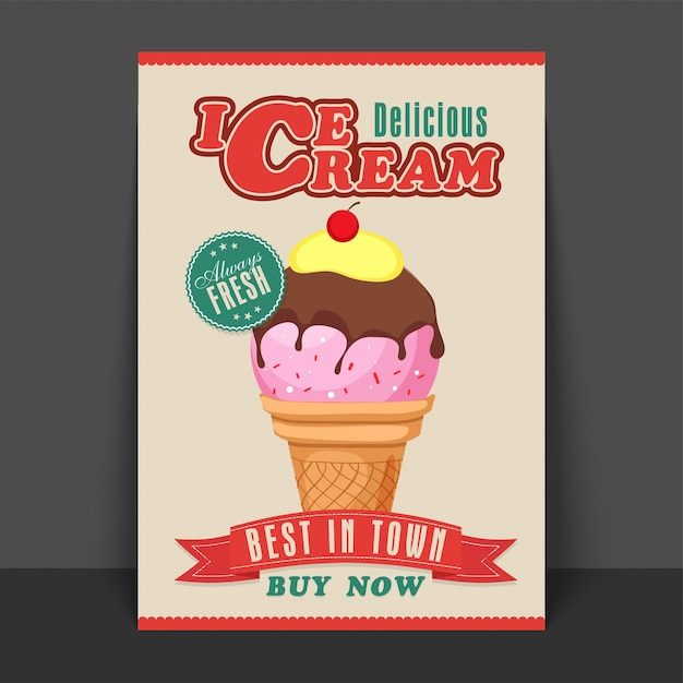 delicious ice cream flyer template banner or poster design in