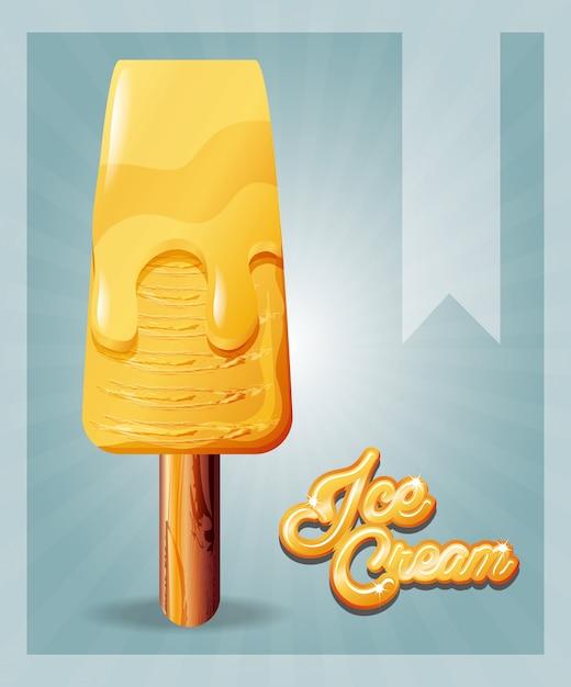 Delicious ice cream in stick Premium Vector